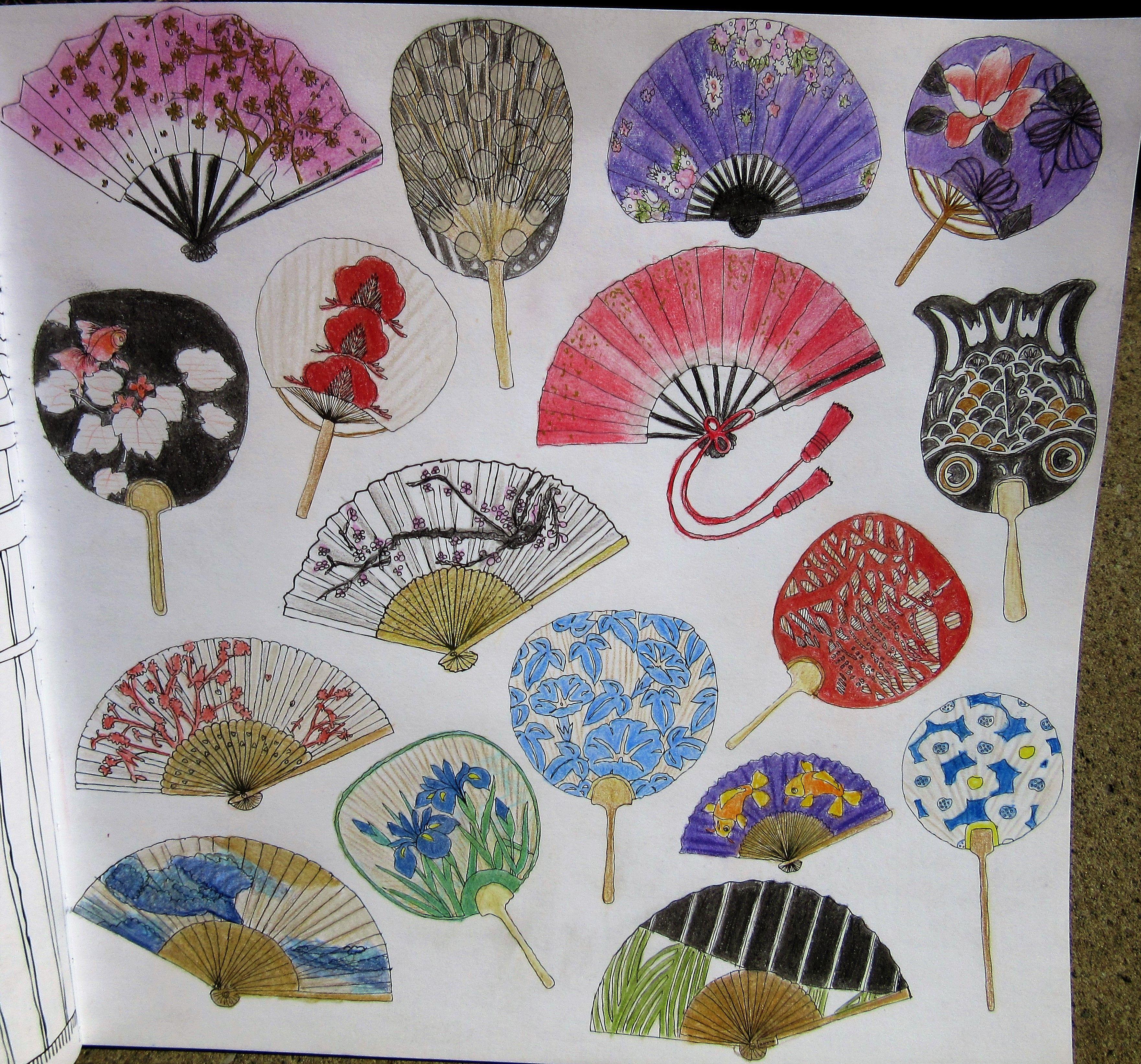 Zoe De Las Cases Secret Japan Colouring Book Japanese Fans Sensu Uchiwa
