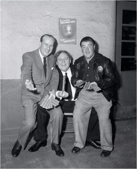 Bud Abbott, Charles Laughton, and Lou Costello- Hollywood,CA- Dec. 12, 1952  | Classic comedies, Hollywood legends, Abbott and costello
