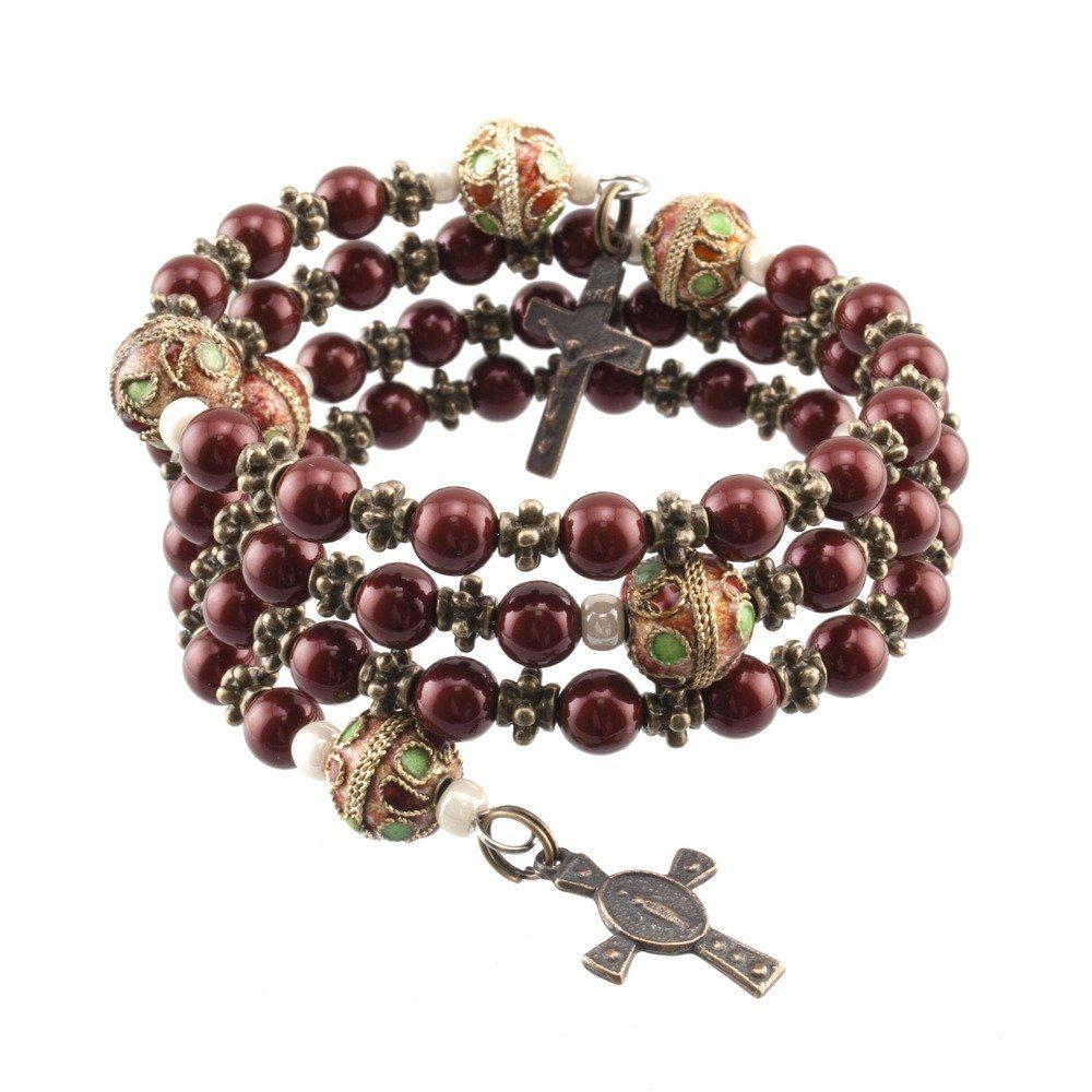 Inspiration swarovski pearls maroon rosary bracelet beads