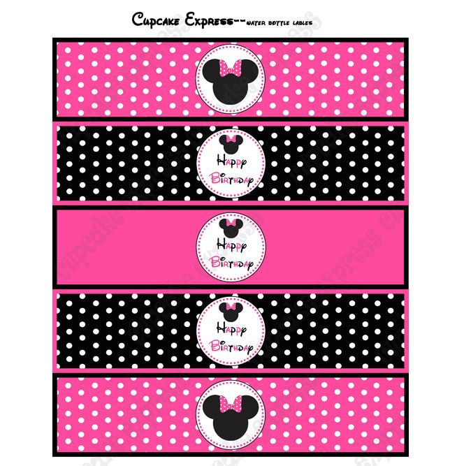 photo about Free Printable Minnie Mouse Water Bottle Labels identified as Minnie+Mouse+Drinking water+Bottle+Labels+Template KENDALLS 1ST