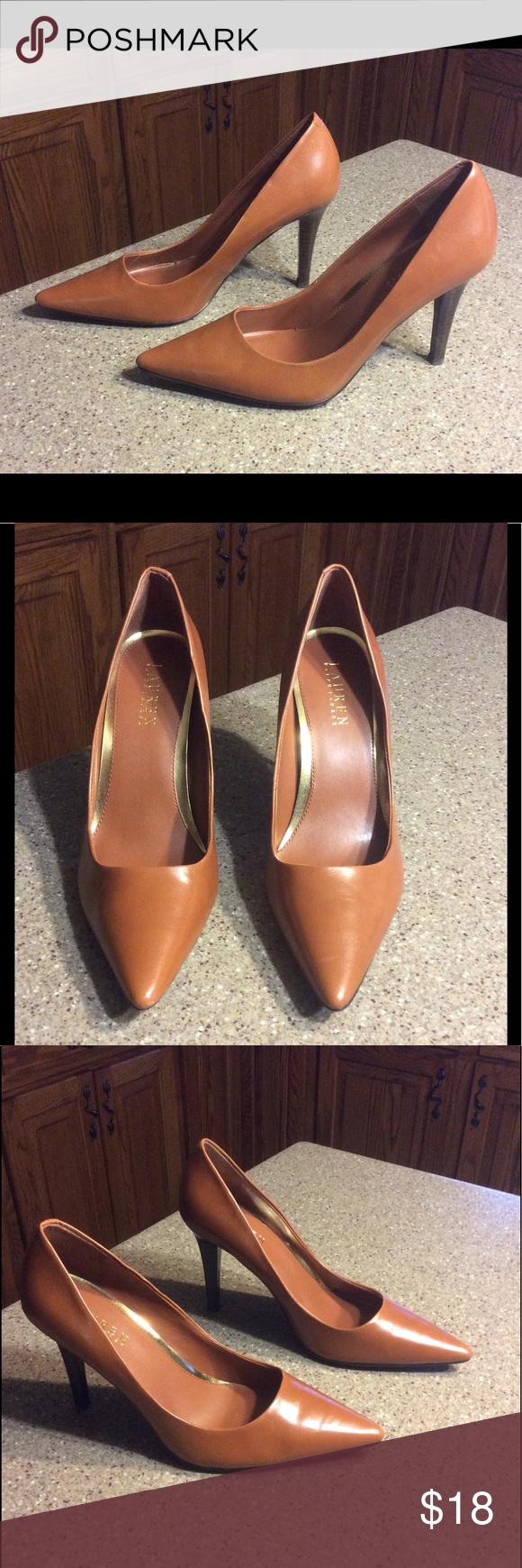 Ralph Lauren Sarina Heels Like new! Worn once. Tan leather heels. Very stylish 😉 Lauren Ralph Lauren Shoes Heels