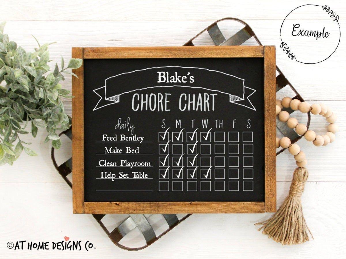 Daily Chore Chart Template Svg Chalkboard Chore Chart Daily