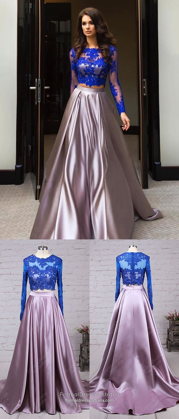 Long formal dresses two piece ball gown prom dresses long sleeve