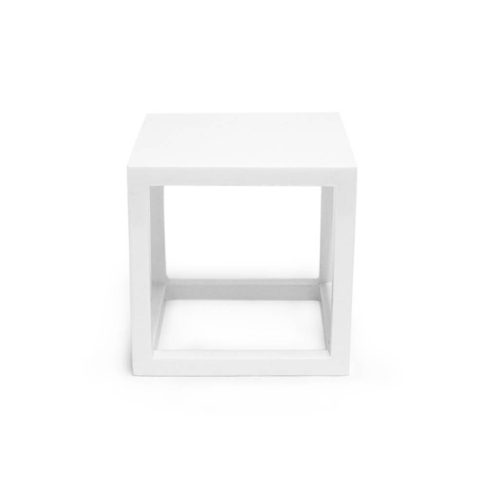 White Lacquer Cube Side Table Small Jonathan Adler 150 00 Domino Com Cube Side Table Side Table Decor Collection