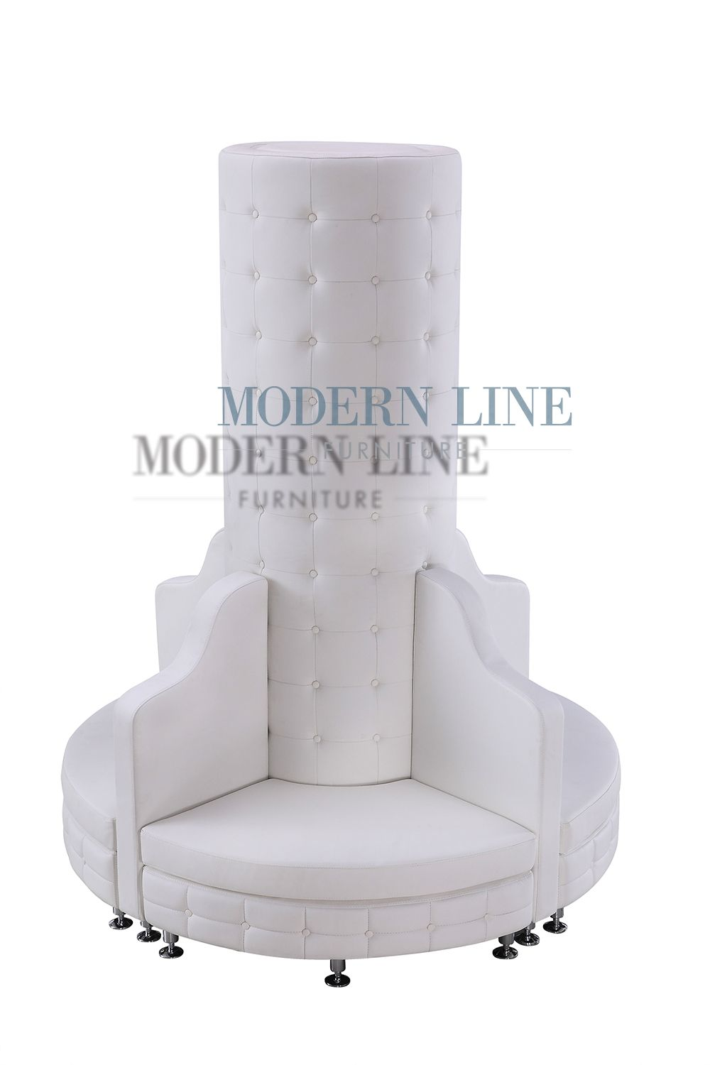 Tufted White Leather Sofa Modern On Tall Column Seating Arrangement 1