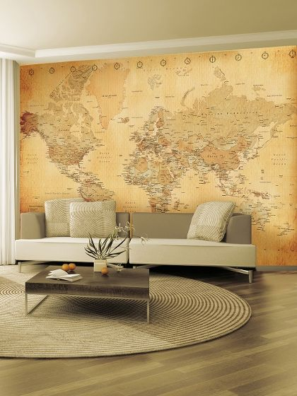 Vintage world map wall mural mapas mapas clsicos y decoracin de vintage world map wall mural gumiabroncs Image collections
