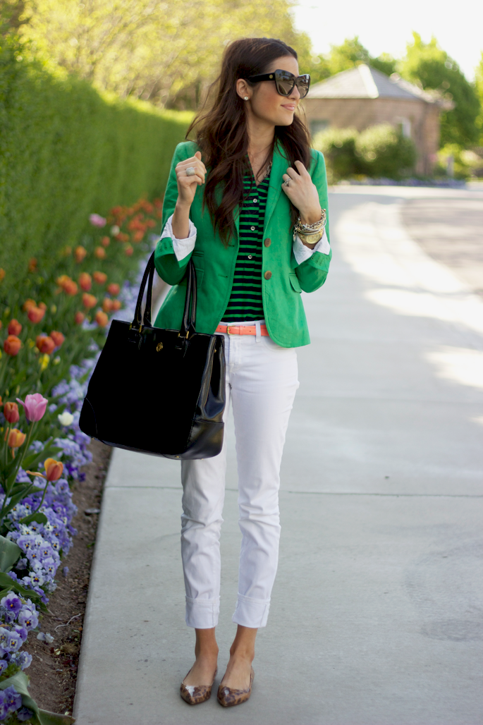 green & navy top, white pants, blazer, leopard shoes