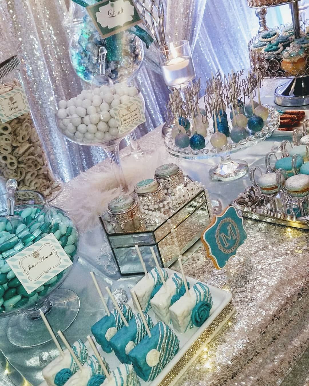 """Eye Candy Buffets on Instagram: """"There you have it! A 50 shades of blue, Bling-Glam Sweet Table we designed for a very lavish Sweet 16 event. And yes, that is a…"""""""