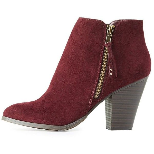 13ae491b076 Charlotte Russe Side-Zip Chunky Heel Booties ($25) ❤ liked on ...