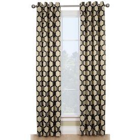 Style Selections Quinn 84 In Onyx/Ivory Polyester Grommet Room Darkening  Thermal Lined Single