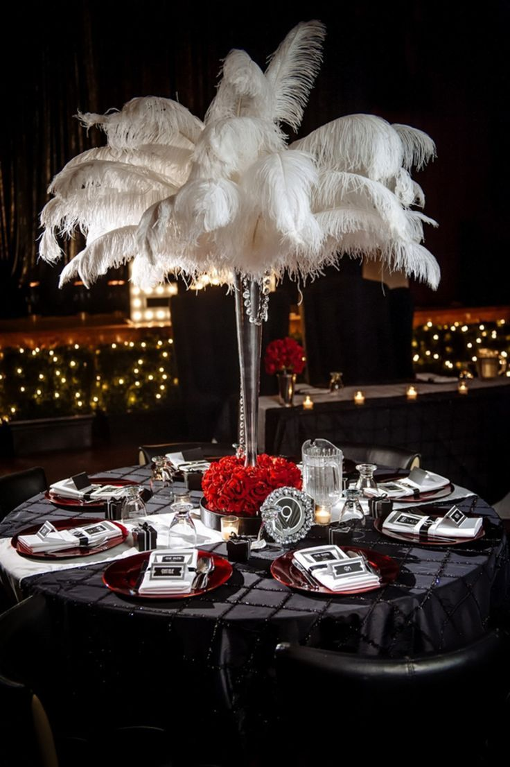 Wedding decorations with feathers  Glam Old Hollywood Wedding by Will Pursell Photography  Hollywood