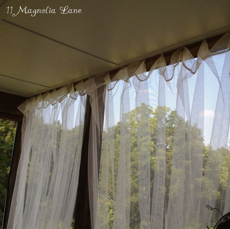 Inexpensive Sheer Curtains Add Privacy To Screened Porch Outdoor Sheer Curtain Screened Porch Outdoor Curtains