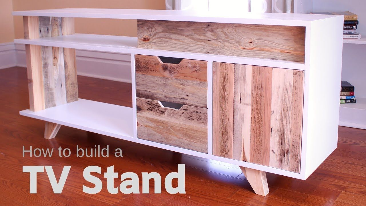 DIY Plywood and Reclaimed Pallet Wood TV Stand / Media