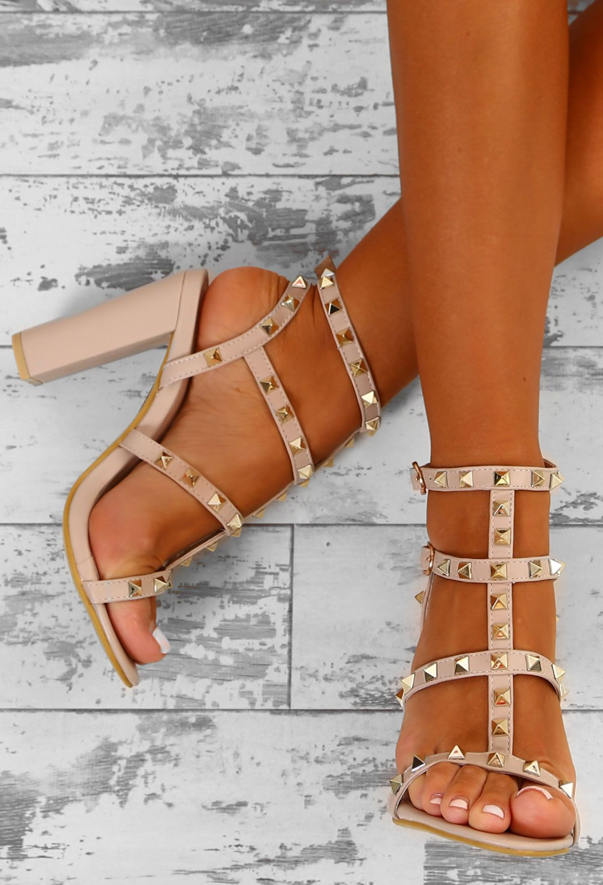 69d2b04dd3 Rock Steady Nude Studded Cage Block Heels - UK 3 in 2019 | Shoes ...