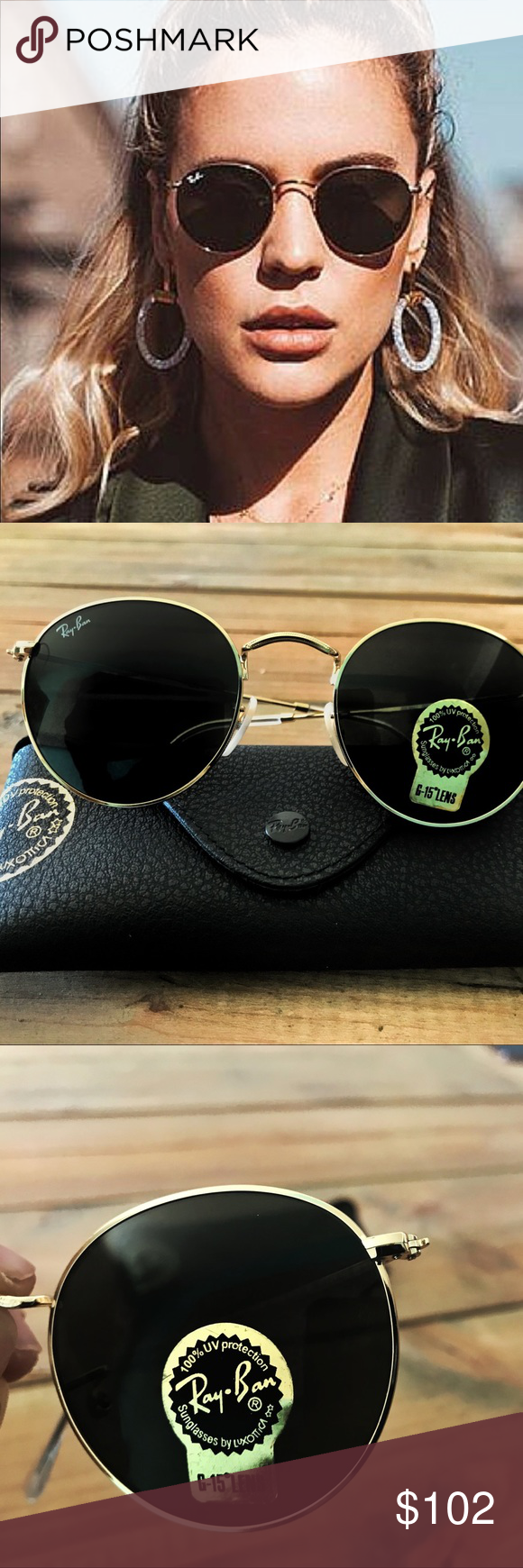 4d262e0382b5dd New RayBan Round Dark Green Lens 50mm (NWT) RayBan RB3447 001 50mm New RayBan  Round Dark Green Lens 50mm (NWT)  153 retail+ Don t be a low baller!