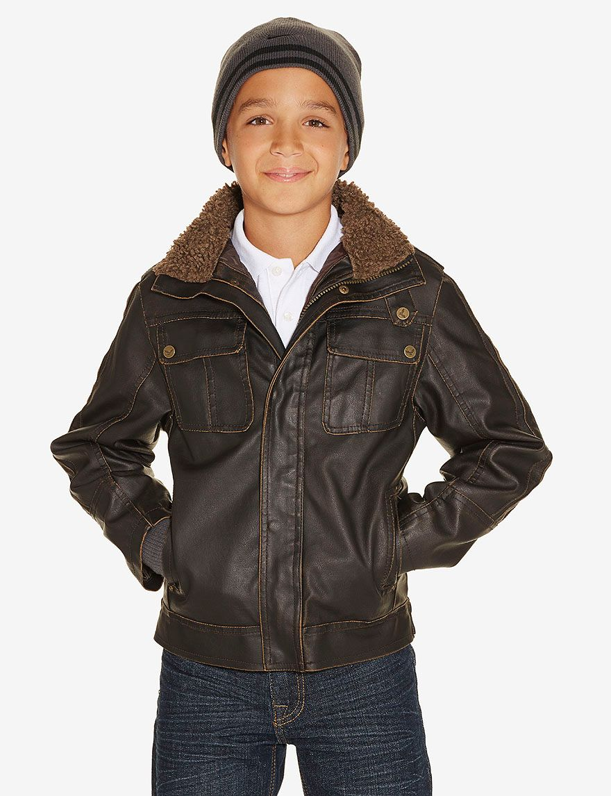 Hawke & Co. Brown Faux Leather Bomber Jacket Boys 820