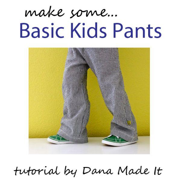basic kids pants:  Free pattern & tutorial from Made