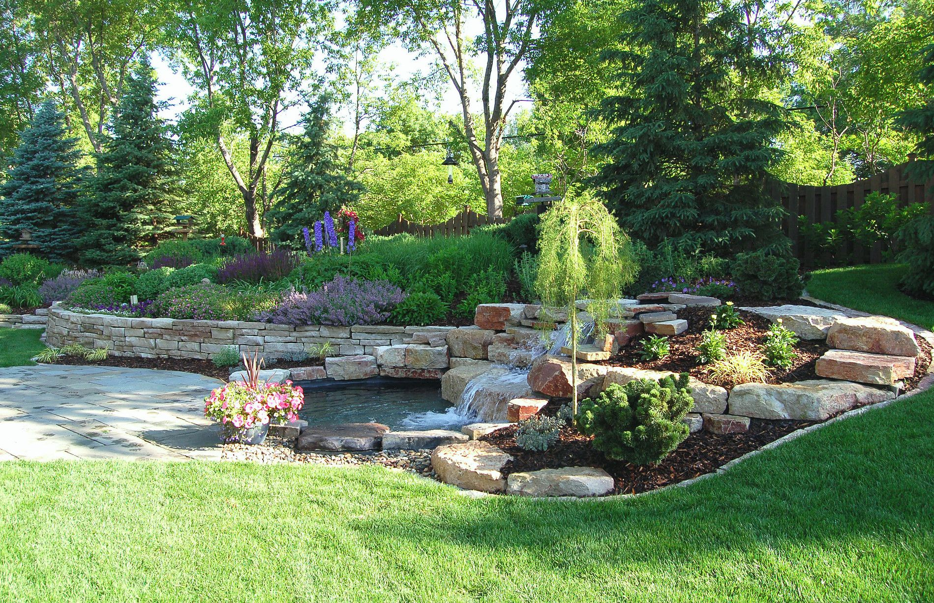 bachmans-landscaping  Garden services, Backyard water feature