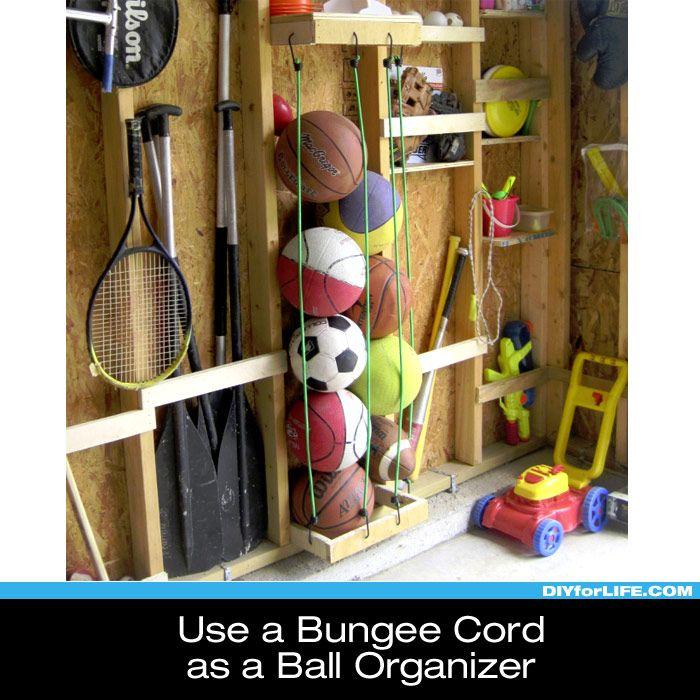 Ball Organizer Garage: Use Bungee Cord As A Ball Organizer