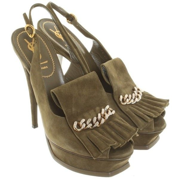 Pre-owned Sandals suede (7.212.550 VND) ❤ liked on Polyvore featuring shoes, sandals, olive, platform shoes, olive green sandals, strappy shoes, strappy sandals and strap sandals