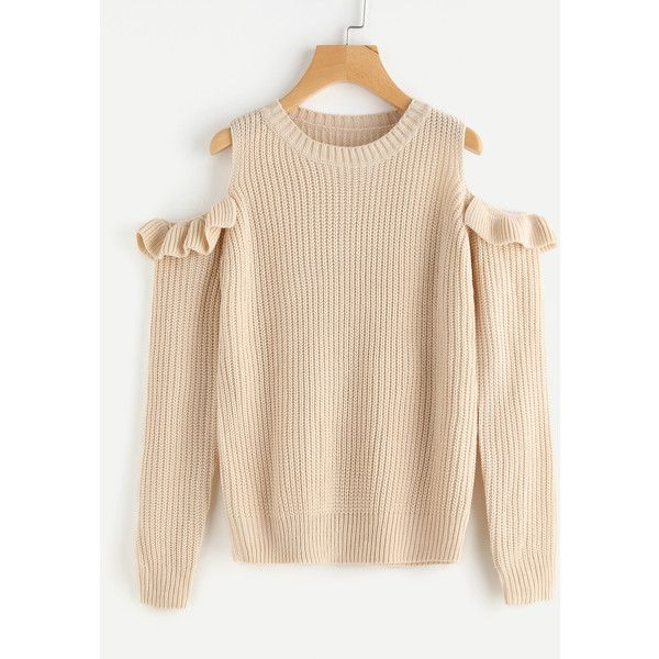 Frilled Open Shoulder Jumper ( 21) ❤ liked on Polyvore featuring tops 3ffa7b3d4