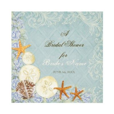 floral cottage by the sea shell beachy wedding invitation by audreyjeanne
