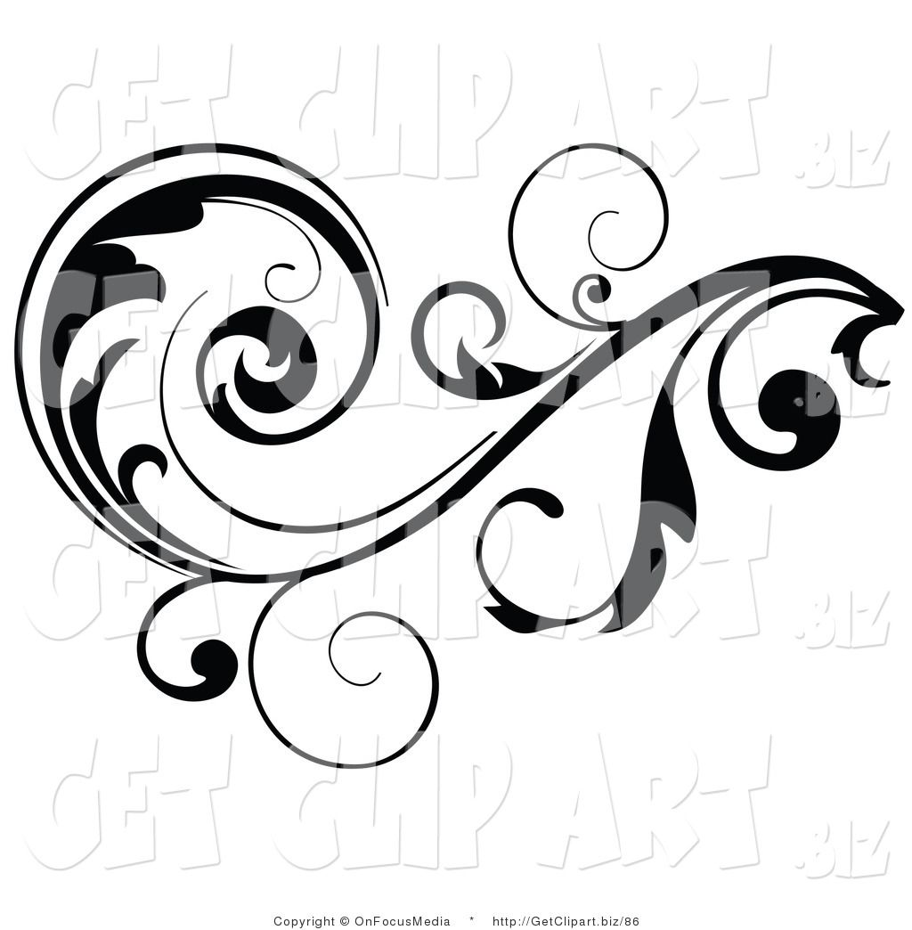 clip art of a black leafy vine design accent with scrolling leaves rh pinterest com
