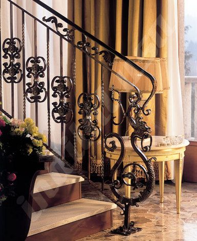 Ornate Iron Newel And Balusters Featuring Newel Post Dragon