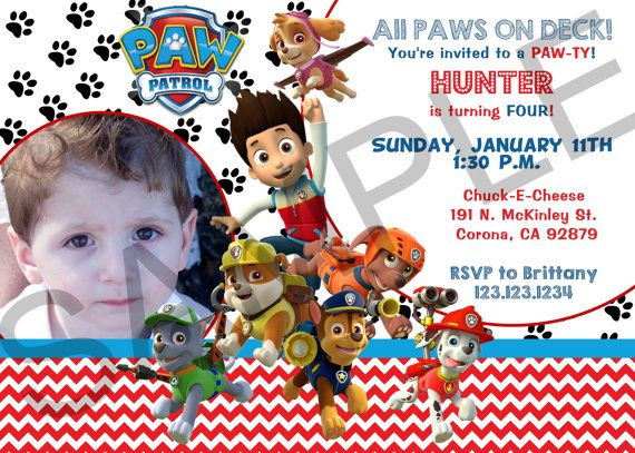 Paw Patrol Photo Birthday Invitation Digital by TheDigiPaperPatch