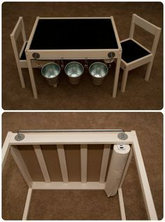 Ikea Hack Latt Kids Table   Painted White, Chalkboard Paint On Top, Black  Vinyl On Seats, Ikea Hanger And Metal Containers, Paperu2026