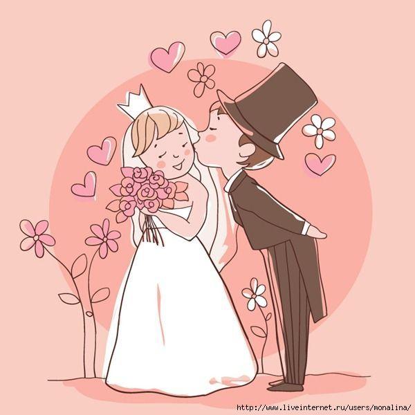 Рисунок на свадебную открытку