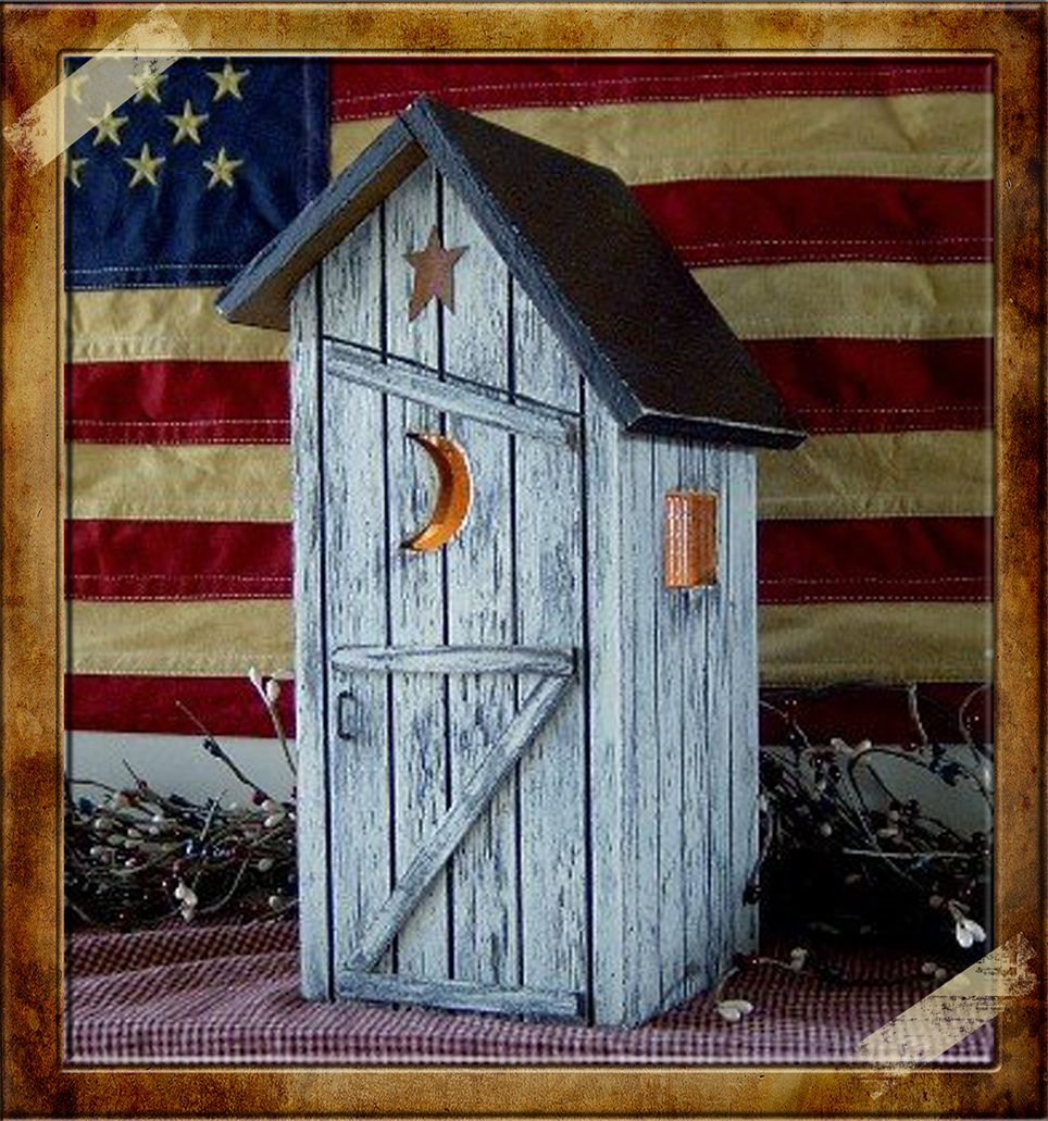 Primitive saltbox outhouses lighted country outhouse our for Primitive house plans