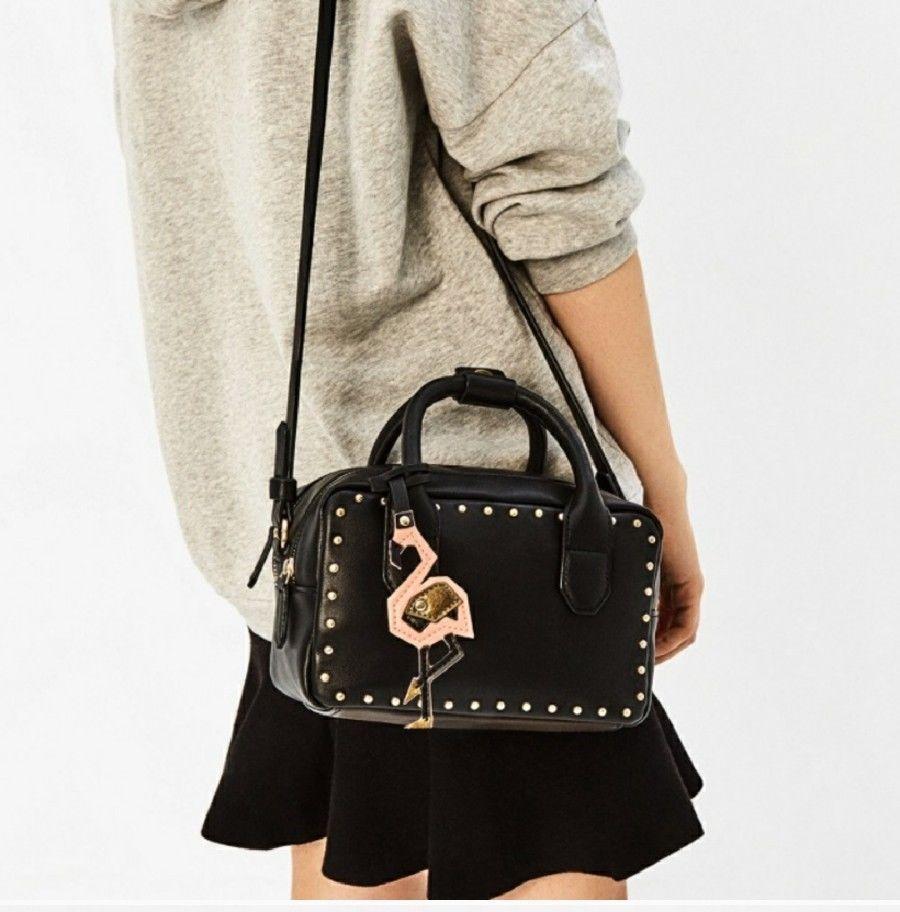 Mini leather tote bag zara - Zara Studded Black Mini Purse Bowling Bag Flamingo Nwt Boss Girl Awesome Leather Ebay
