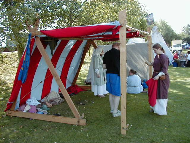 Viking tent with additional supports. my kitch & Nice easy day shade for events. http://www.currentmiddleages.org ...
