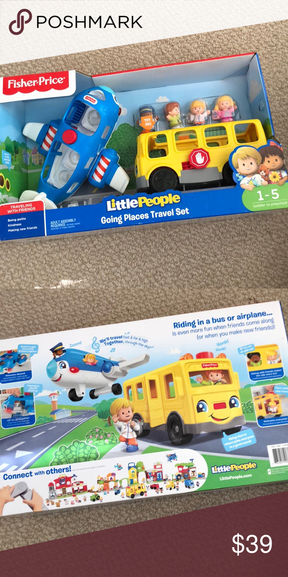 Little people school bus airplane Brand new in box  My