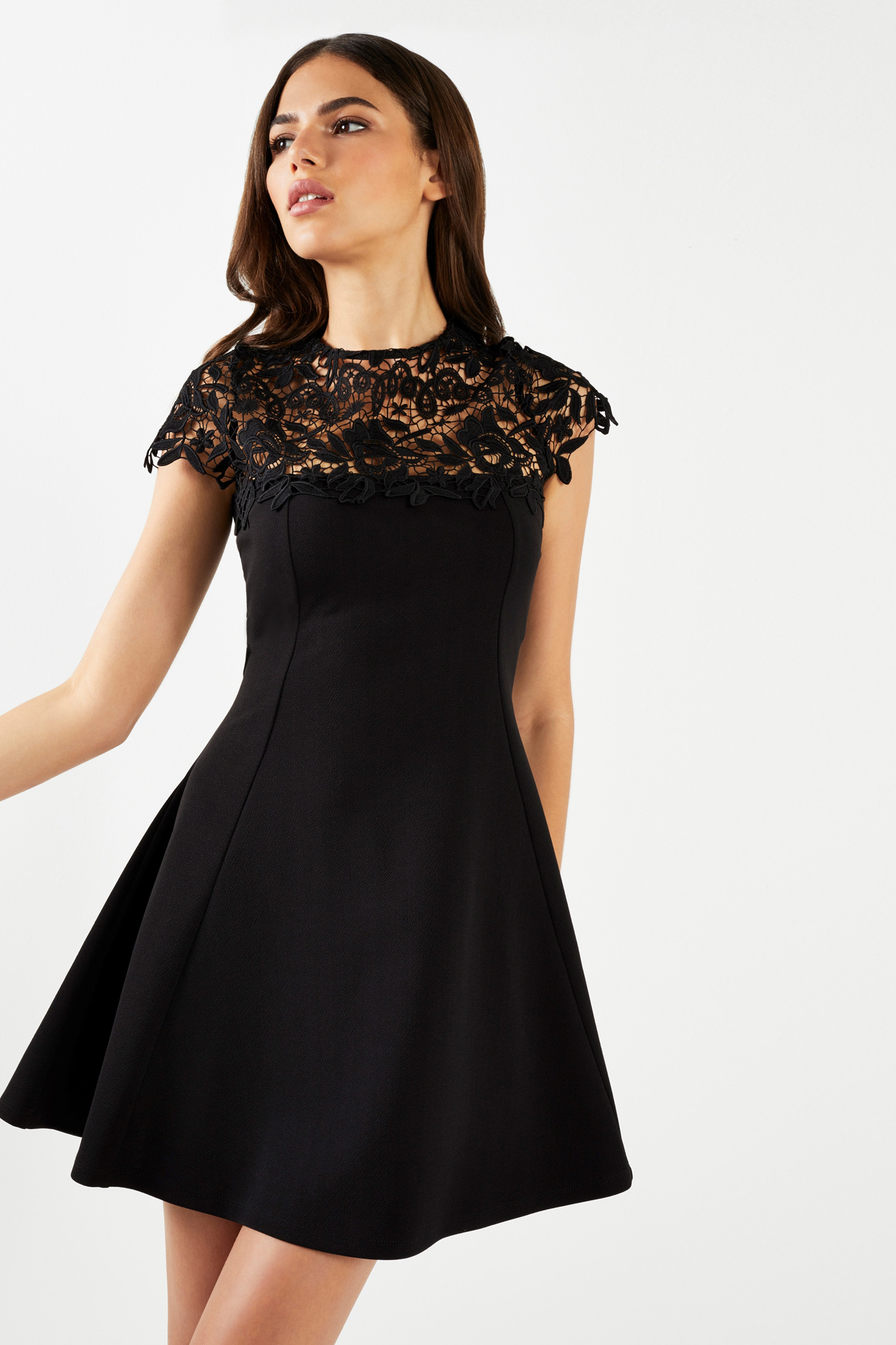 0302d9169ac Womens Lipsy Lace Top Skater Dress - Black