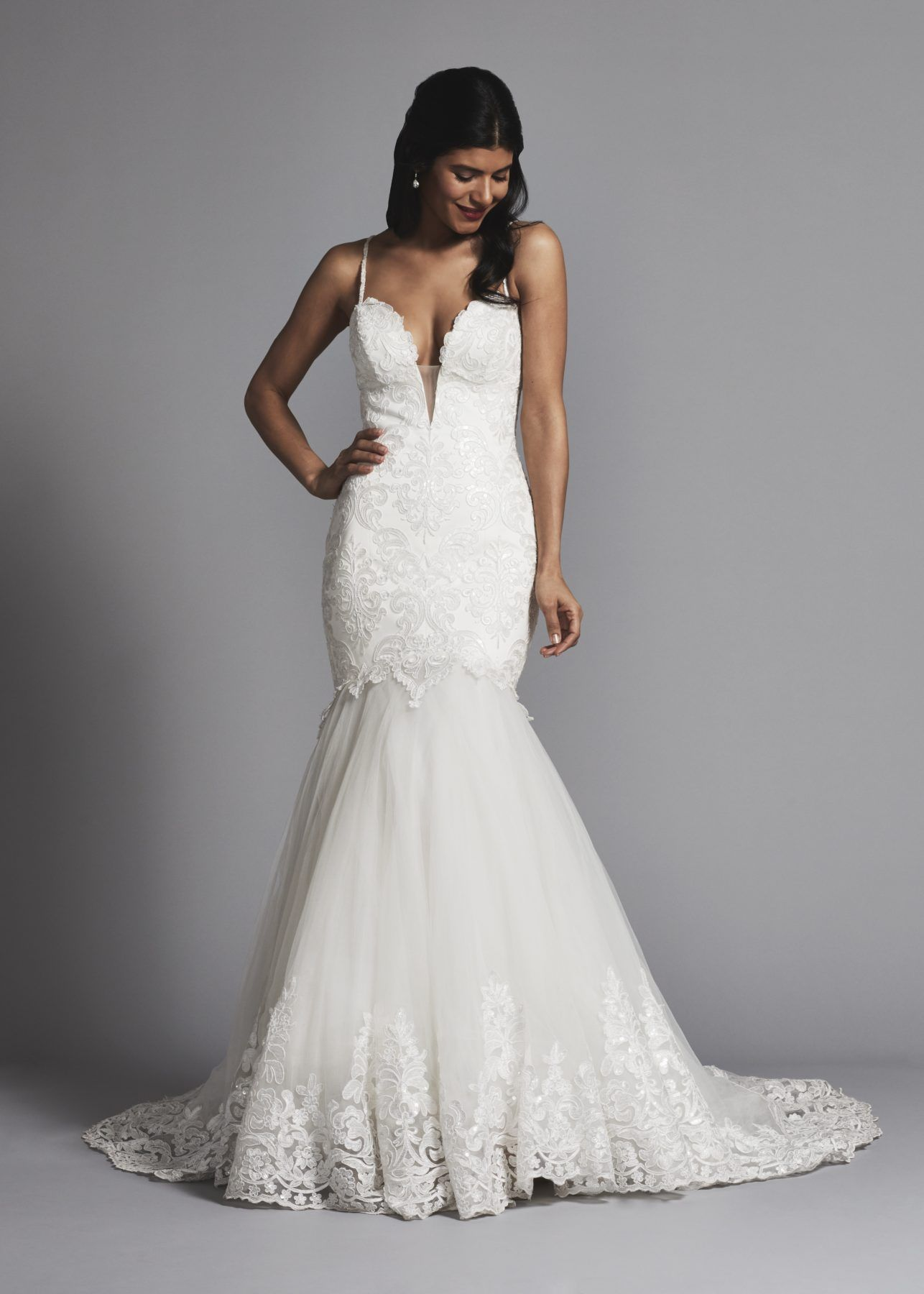 Spaghetti strap lace and tulle mermaid wedding dress.  d6ed043dfd59