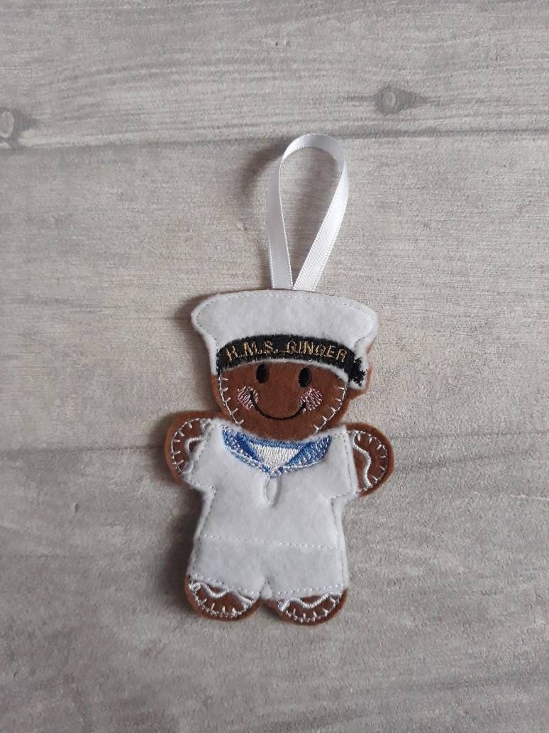 Gingerbread Fisherman Ginger Felt Hanging Decoration Christmas