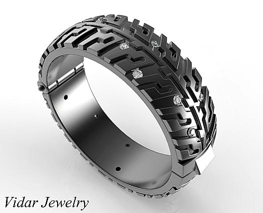 Hinged Wedding Band Black Gold Tire Tread Diamond Ring Unique Mens
