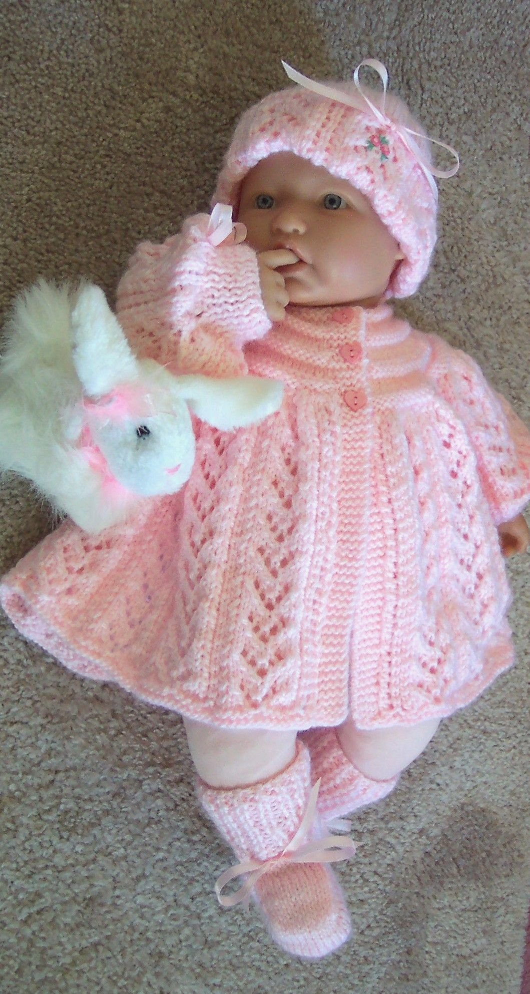Handmade knit baby girls pink sweater set Beautiful lace pattern