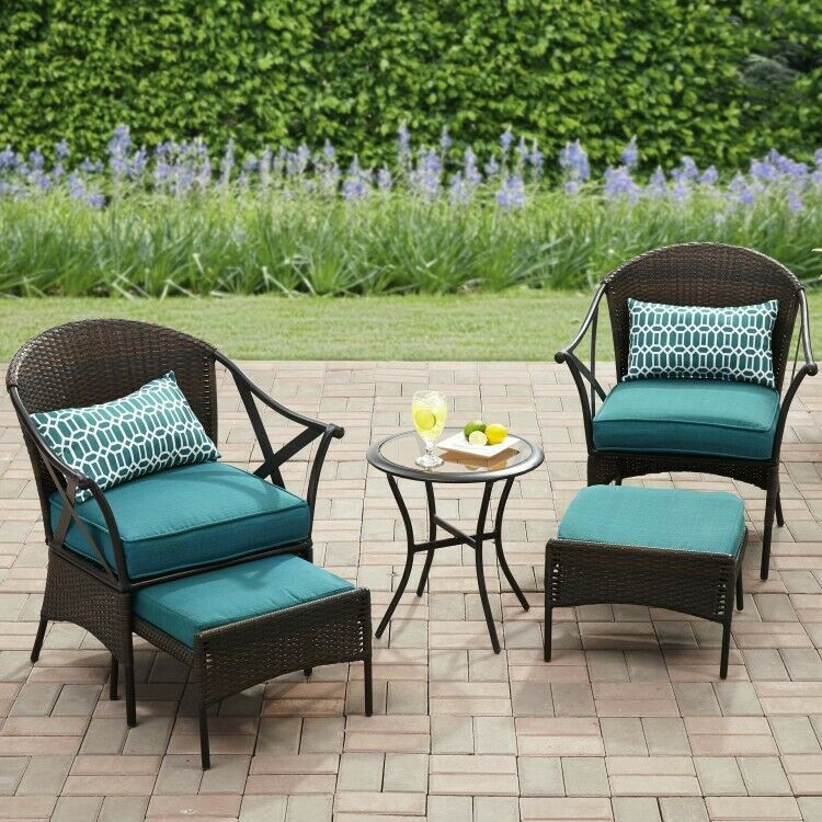 Details about Outdoor Bistro Wicker Set Cushioned Ottomans