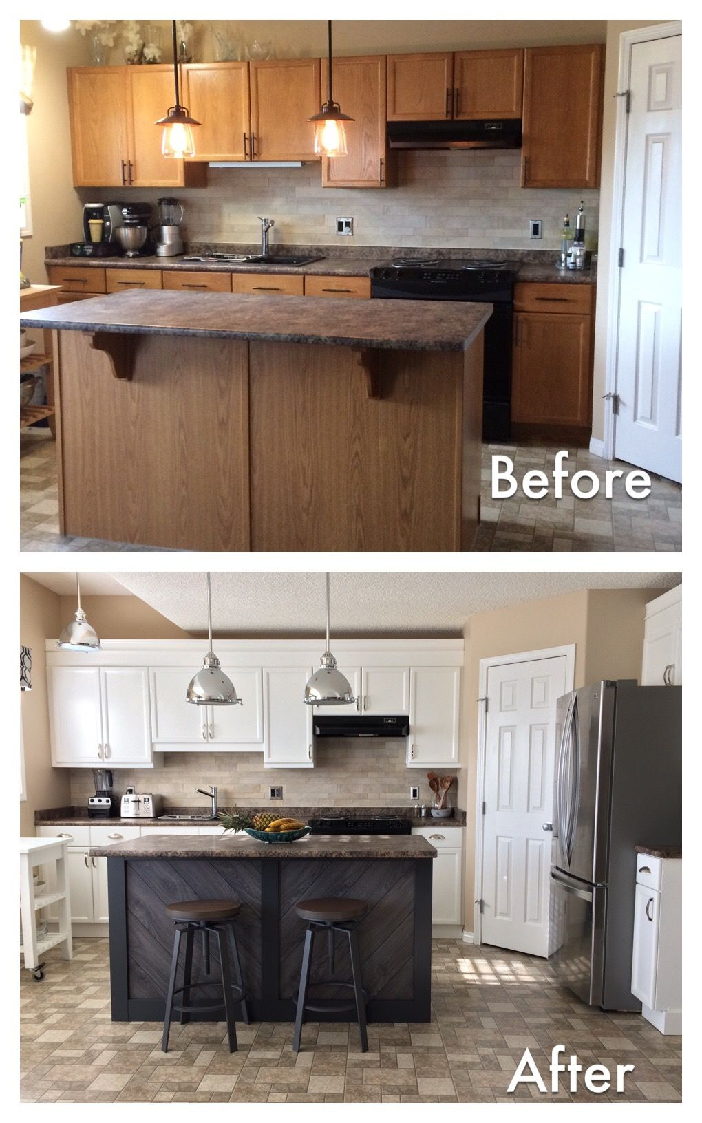This Is An Updated Kitchen On A Budget Paint Used Benjamin Moore Simply White And Wroug Laminate Kitchen Cabinets Kitchen Cabinet Interior Ikea Kitchen Design