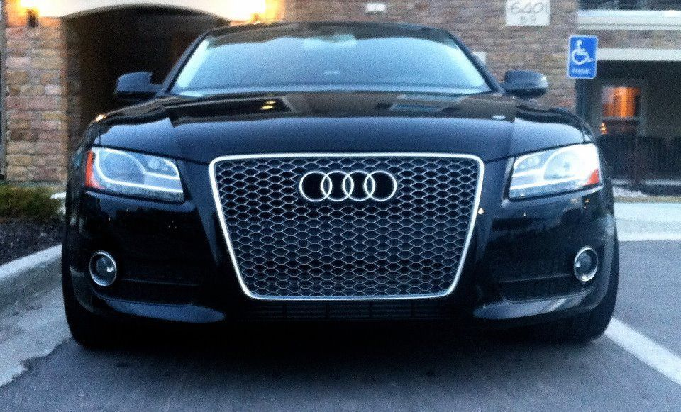 rs5 front euro race s line gunmetal mesh grille for 2007 2011 audi quattro a5 s5 rs5 8t sfg. Black Bedroom Furniture Sets. Home Design Ideas