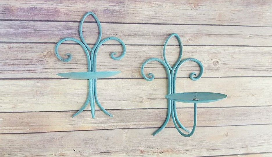 Sconce Candle Holders Pair Turquoise Wrought Iron Fleur De Lis Up Cycled Eco Friendly READY TO SHIP - pinned by pin4etsy.com