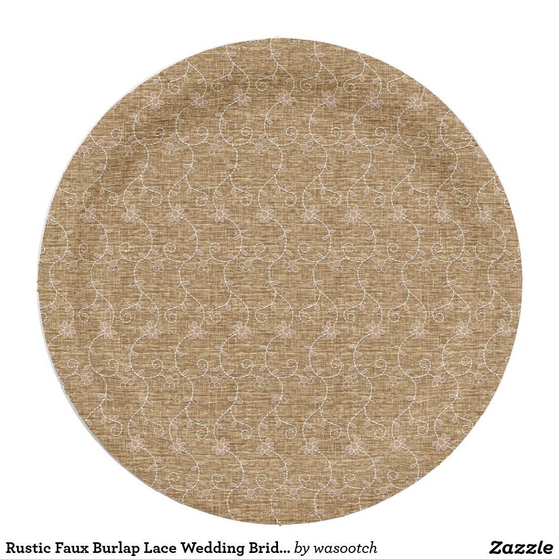 Rustic Faux Burlap Lace Wedding Bridal Shower 9 Inch Paper Plate  sc 1 st  Pinterest & Rustic Faux Burlap Lace Wedding Bridal Shower Paper Plate | Burlap ...