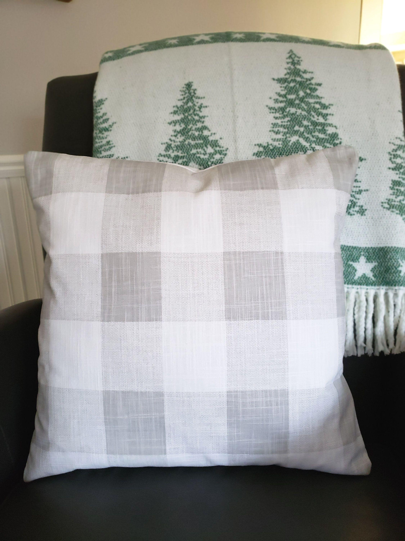 Farmhouse gray buffalo check pillow cushion cover grey