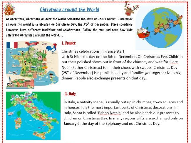 Christmas Traditions Around The World Worksheet Elt