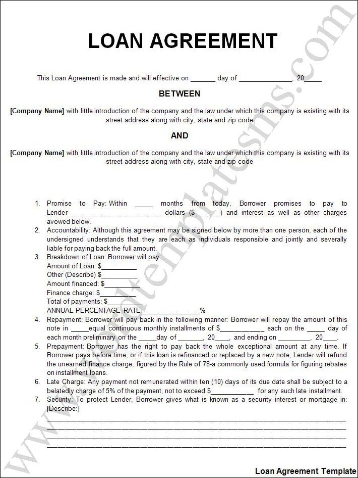 Printable Sample Personal Loan Agreement Form – Sample Mortgage Contract