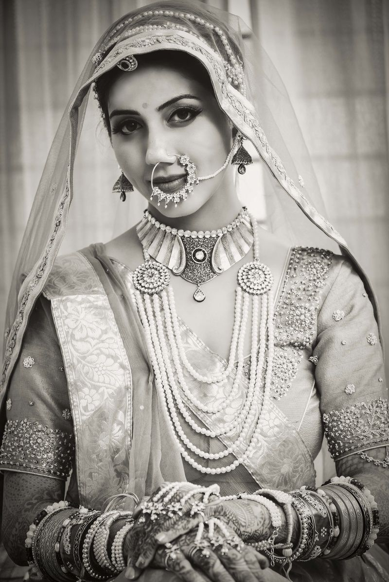 Black and White Bridal Portrait | White bridal, Candid and Designers