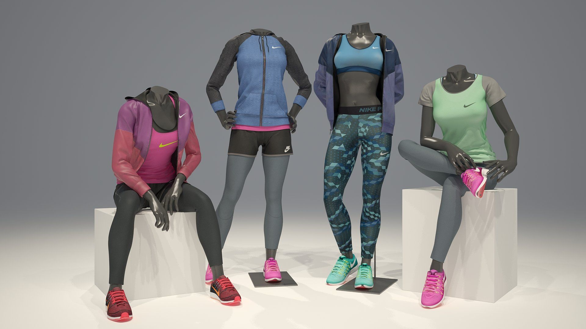Female mannequin Nike FULL PACK (With images) 3d model